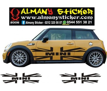 Mini Cooper yan ingiliz bayrağı sticker,mini cooper sticker,oto sticker-2