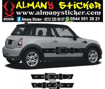 Mini Cooper yan kemer sticker,mini cooper sticker,oto sticker