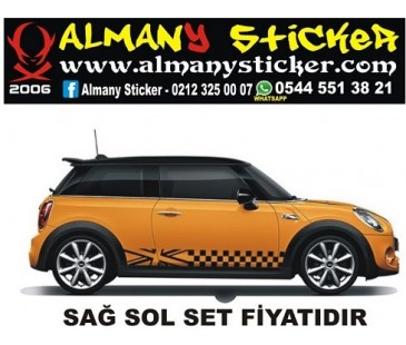 Mini Cooper yan marşbiyel ingiltere bayrağı sticker,mini cooper sticker,oto sticker